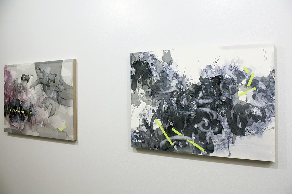 "Nishiki Sugawara-Beda at Execute Project  Left: Inaugural III, 22""×30"", Sumi ink and acrylic on paper mounted on wood  Right: Inaugural II, 22""×30"", Sumi ink and acrylic on paper mounted on wood"