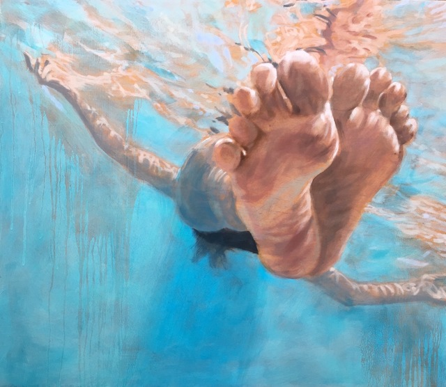 """Carol Bennett, '""""Hang Time"""" Oil painting of feet floating in a blue pool ', 2017, Eisenhauer Gallery"""