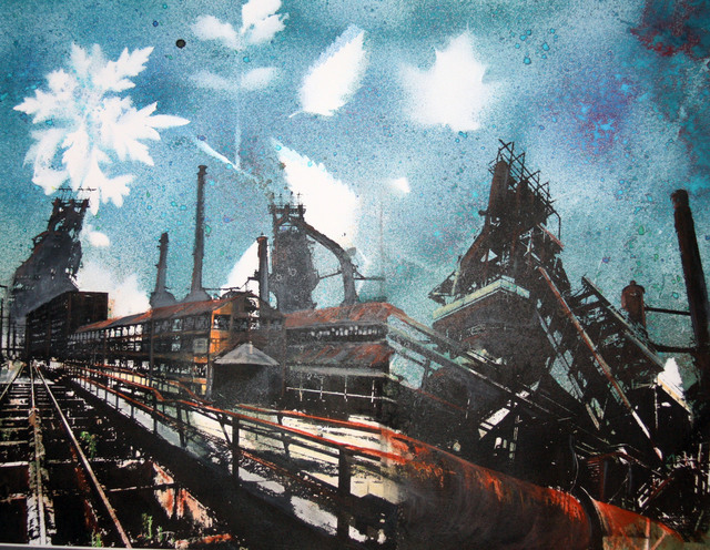 Gillian Pokalo, 'Bethlehem Steel Train', 2018, Drawing, Collage or other Work on Paper, Photo screen print and monoprint on paper, hand-colored, matted and framed., InLiquid