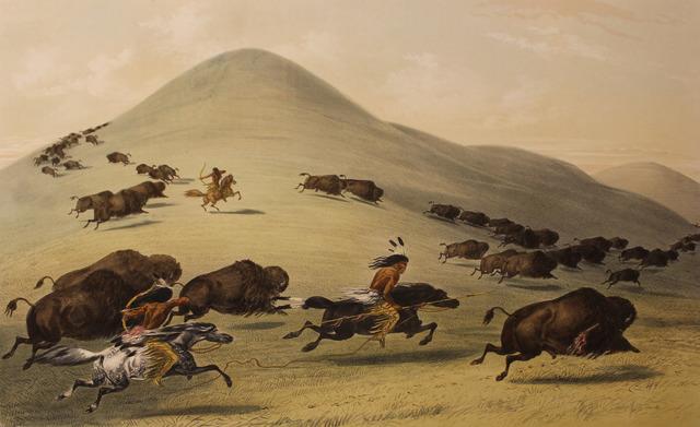 George Catlin, 'Buffalo Hunt Chase', 1844, Print, Color lithograph, Kiechel Fine Art