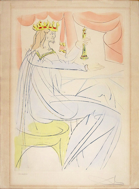Salvador Dalí, 'King Solomon from Our Historical Heritage', 1975, Print, Drypoint and etching with stencil in colors on Arches paper, Hamilton-Selway Fine Art