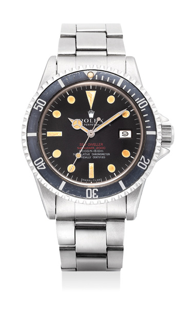 "Rolex, 'A fine and rare stainless steel diver's wristwatch with date, sweep center seconds, gas escape valve and ""double red"" Mk II dial', 1968, Phillips"