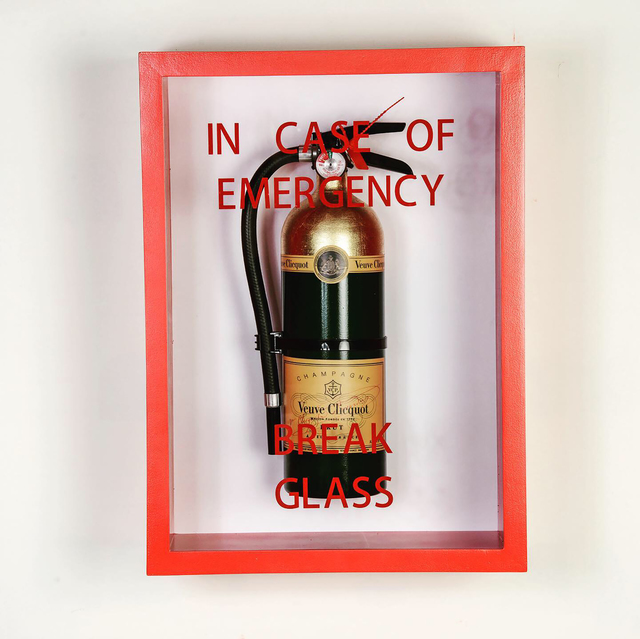 ", '""In Case of Emergency Break Glass"" Fire Extinguisher Mixed Media ,' 2019, Wallspace"
