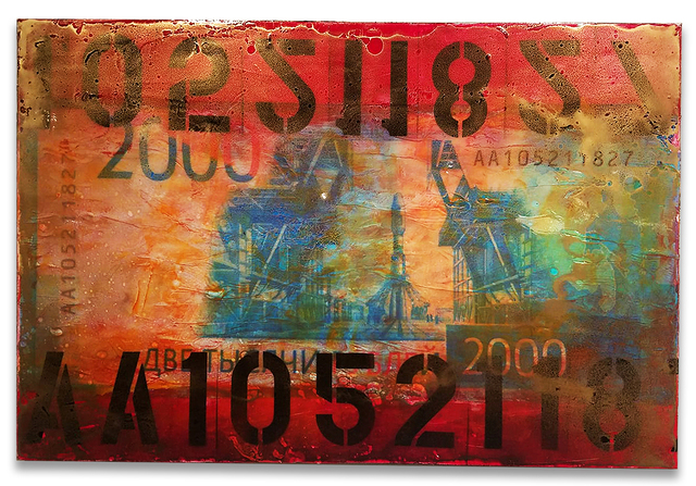 Fidel Rodriguez, '2000 Russian Rubles', 2019, Mixed Media, Paper, acrylic, gold dust and resin on canvas, ARTSPACE 8