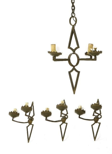 Attributed to Agostini, 'A wrought iron four-light chandelier', Sworders