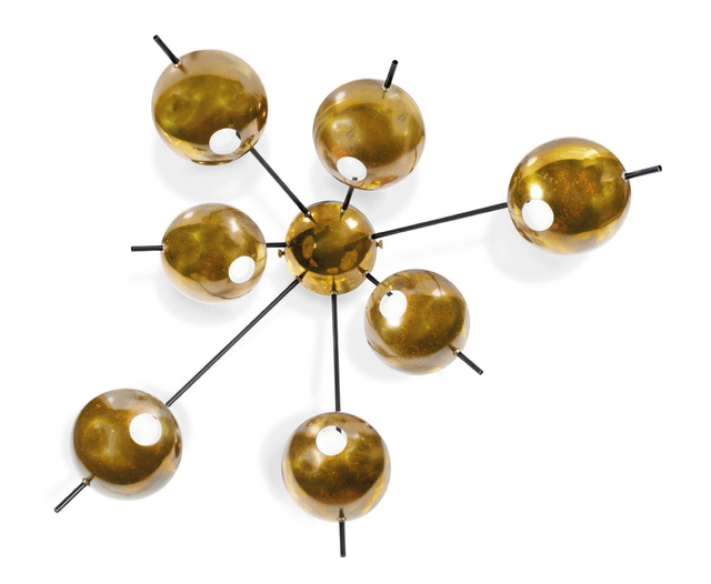 'Adjustable wall light', Circa 1955, Design/Decorative Art, Brass, metal, Aguttes