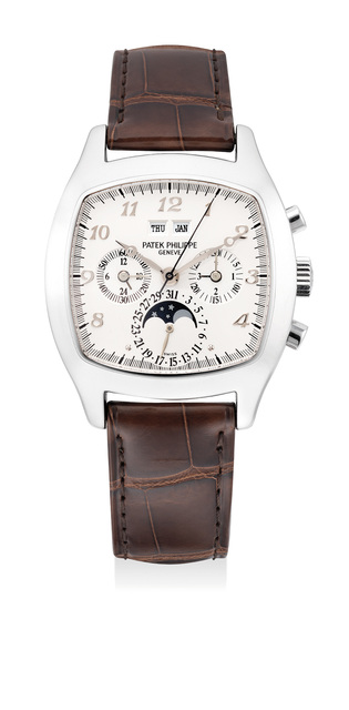 Patek Philippe, 'An extremely rare and attractive platinum perpetual calendar chronograph wristwatch with moon phases, additional silvered dial with Breguet numerals, original certificate, setting pin and presentation box', 2000, Phillips