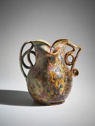Mottled two-sided, two-handled vase
