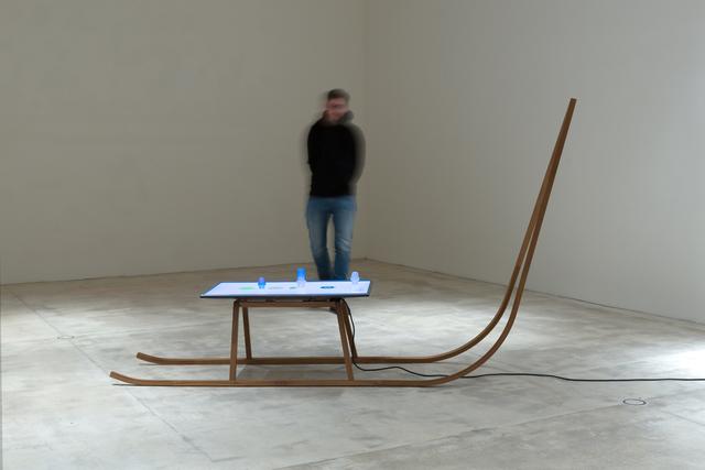 Markus Hanakam & Roswitha Schuller, 'Schlitten mit Allegorien der Luft', 2017, Sculpture, Wood, TV, animated video, objects, Galerie Krinzinger