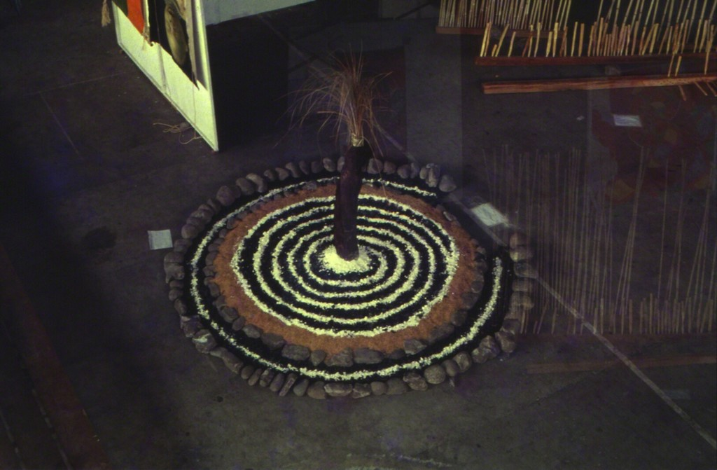 Image: Installation by Baguio-based artist Roberto Villanueva using coco lumber, stones, soil, lime, and wild grass at the Bacolod City Civic Center, VIVA EXCON 2, 1992. 