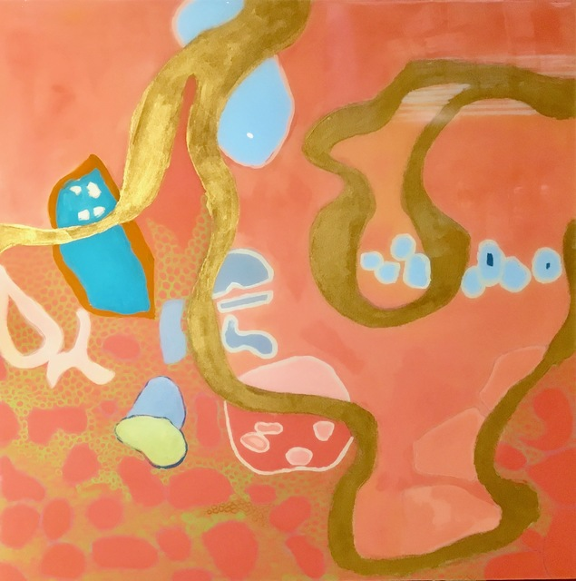 """Anne Harney, '""""Philbin Beach Walk 2"""" mixed media painting with coral, gold and turquoise and resin finish', 2019, Eisenhauer Gallery"""