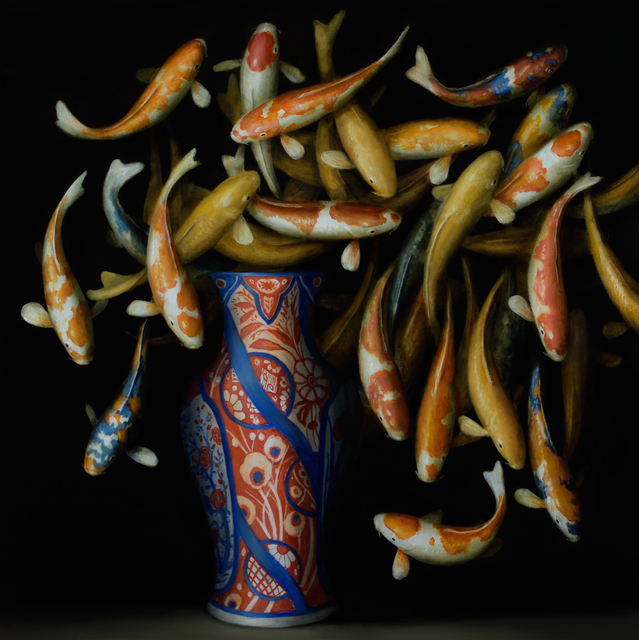 , 'Koi and Red and Blue Vase,' 2017, Lisa Sette Gallery