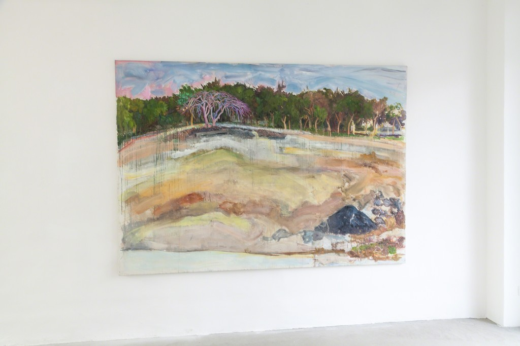 Katarzyna Badach, exhibition view, w.T., 2015, 175 x 280 cm, oil on canvas | image: ©dasesszimmer