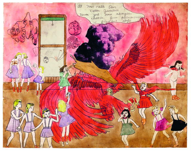 Henry Darger, 'At McCalls Run Coller Junction Vivian girl saves strangling children from phenomenon of frightful shape', 1910-1970, Musée d'Art Moderne de la Ville de Paris