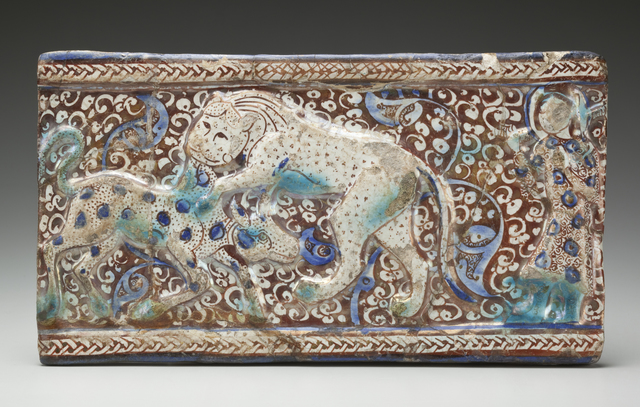 , 'Molded Luster Tile with Raised Braided Border and Cowherd Witnessing a Lion Attack a Calf against a Floral Background; Iran,' ca. 13th century , Newark Museum