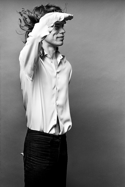 ", 'Mick Jagger, ""Mick Saluting"", Los Angeles,' 1972, Fahey/Klein Gallery"