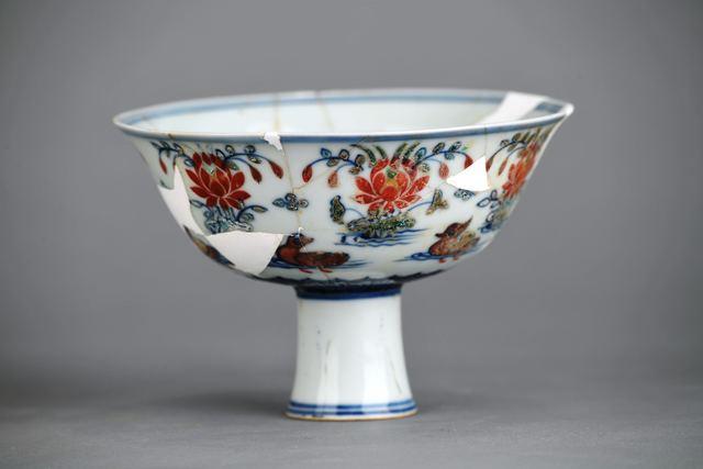 , 'Doucai stem bowl with mandarin ducks and lotus pond,' Zhengtong to Tianshun, Ming Dynasty(1436, 1464), Art Museum of the Chinese University of Hong Kong
