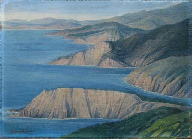 , 'Sin título (paisaje en azules),' s/f, Oscar Roman