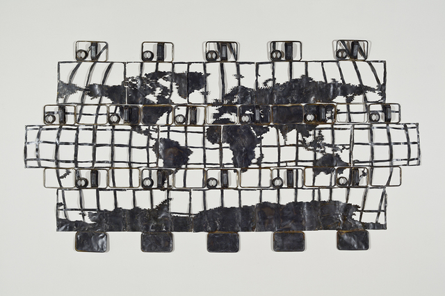 Cal Lane, '16 Oil Can Map of the World #2', 2011, Art Mûr
