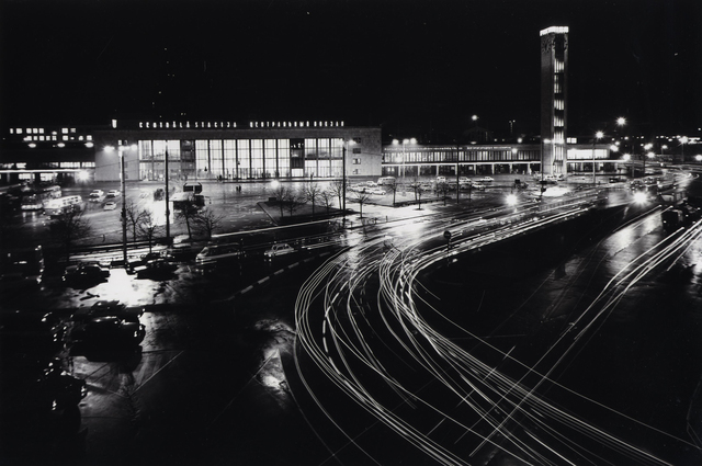 , 'View with the Riga Central Railway Station and the Clock tower with light kinetic object - multi-programme light system,' 1980, Centre for Fine Arts (BOZAR)