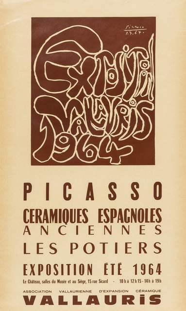 Pablo Picasso, 'Exposition, Vallauris, Picasso ceramiques espagnoles anciennes les potiers, 1964 (CZW 229)', 1964, Print, Lithograph printed in brown, Forum Auctions