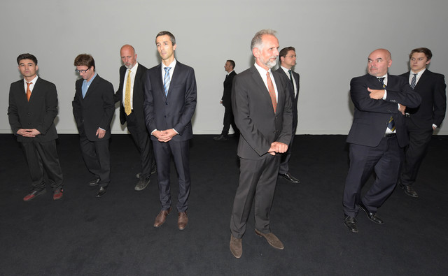 , 'The pace-setter Hans Jörg Schelling is only in the background here (third from left), but he can't be overlooked: now the Finance Minister (finally) makes the federal states get a move on,' 2016, Christine König Galerie