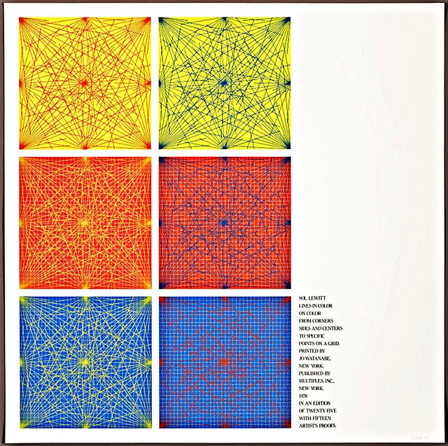 """Sol LeWitt, 'Cover Silkscreen from """"Lines In Color on Color From Corners Sides and Centers to Specific Points on a Grid""""', 1978, Alpha 137 Gallery"""