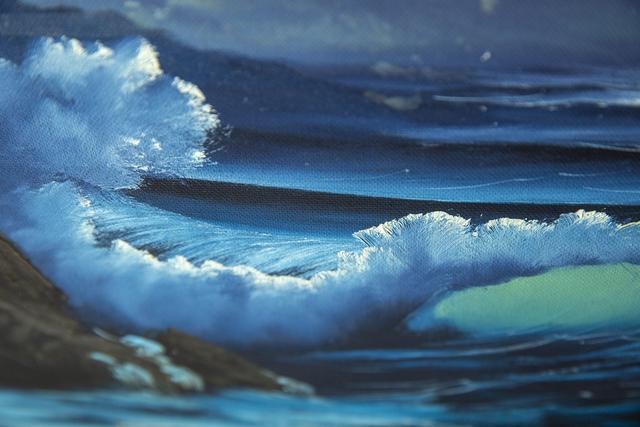 Bob Ross, 'Bob Ross Signed Original Blue Ocean with Mountain Background Contemporary Art Painting', 1970-2000, Modern Artifact
