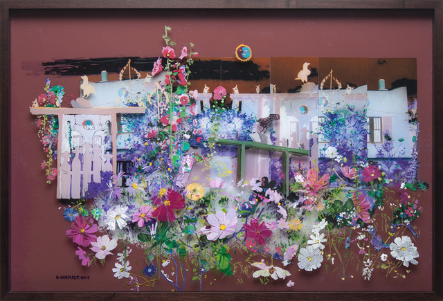 Gail Norfleet, 'Romero's Casa', 2017, Painting, Acrylic and cut paper photo collage on two Lucite panels, Valley House Gallery & Sculpture Garden