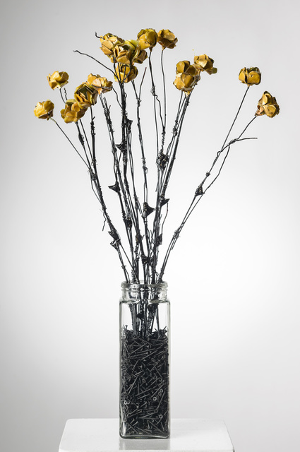 Elizabeth Jordan, 'Flowers in Glass Vase w/stones : 'For the Undeserving, You Know Who You Are'', 2013, Ivy Brown Gallery