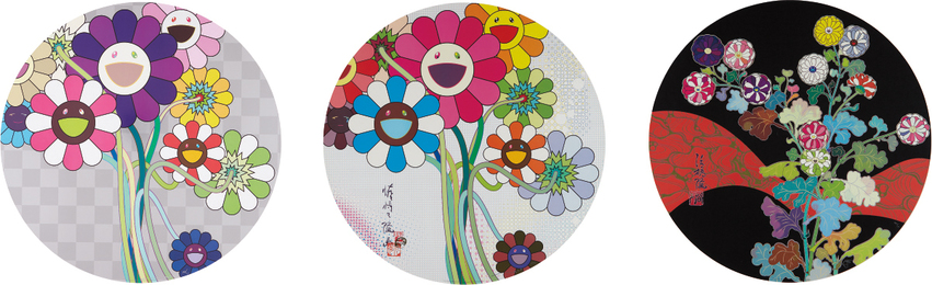 Takashi Murakami, 'Even The Digital Realm Has Flowers to Offer; Purple Flowers in A Bouquet; and Kansei: Fresh Blood,' 2010-2014, Phillips: Evening and Day Editions (October 2016)