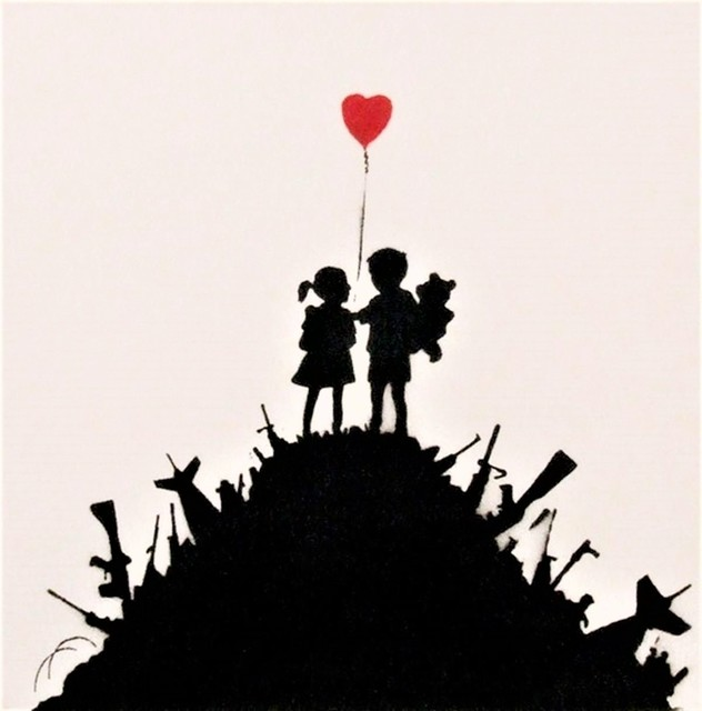Banksy, 'Kids on Guns', 2003, Painting, Spray paint on canvas, Castle Gallery