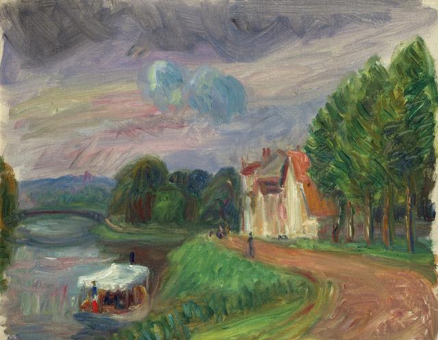 , 'Pleasure Boat on Oise,' Add Artwork year, Debra Force Fine Art