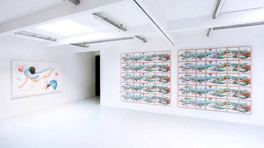 Exhibition view: Jorinde Voigt - Song of the Earth  left:  Jorinde Voigt Divine Territory 2016 140 x 230 cm  right: Jorinde Voigt Chapter 1: Radical Relaxation (I) bis (VII) (Stress + Freiheit) Sloterdijk/ Rousseau 2016 7-teilige Arbeit  both: Courtesy König Galerie, Berlin, David Nolan Gallery, New York, and Lisson Gallery London, VG Bild-Kunst, 2016, © Jorinde Voigt.  Photo: Verena Nagl