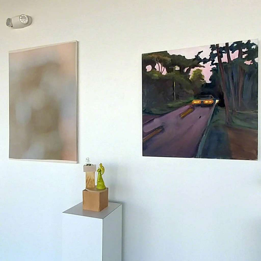 Painting by Douglas Degges (left), sculpture by Rita Bard, and painting by Maureen O'Leary (right)