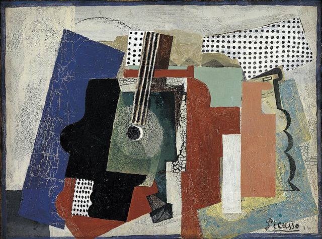 Pablo Picasso, 'Still Life with Door, Guitar and Bottles', 1916, Statens Museum for Kunst