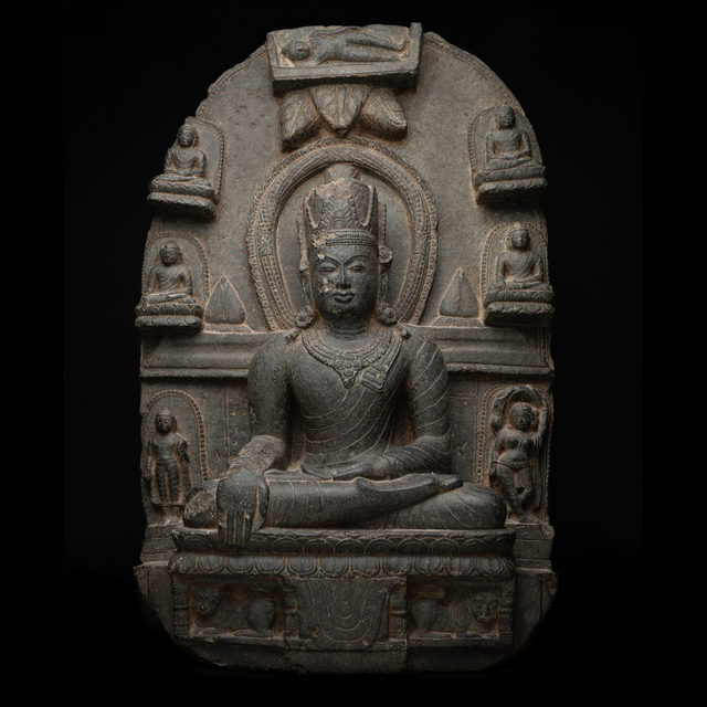 Unknown Indian, 'Pala-Sena Buddhist Stele Depicting the Life Story of the Buddha', Pala Period-c. 1100 A.D. to 1300 A.D., Barakat Gallery