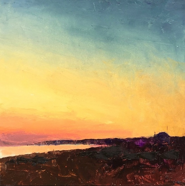 ", '""Sunset at the Bay"" oil painting of vibrant orange and yellow sunet,' 2018, Eisenhauer Gallery"