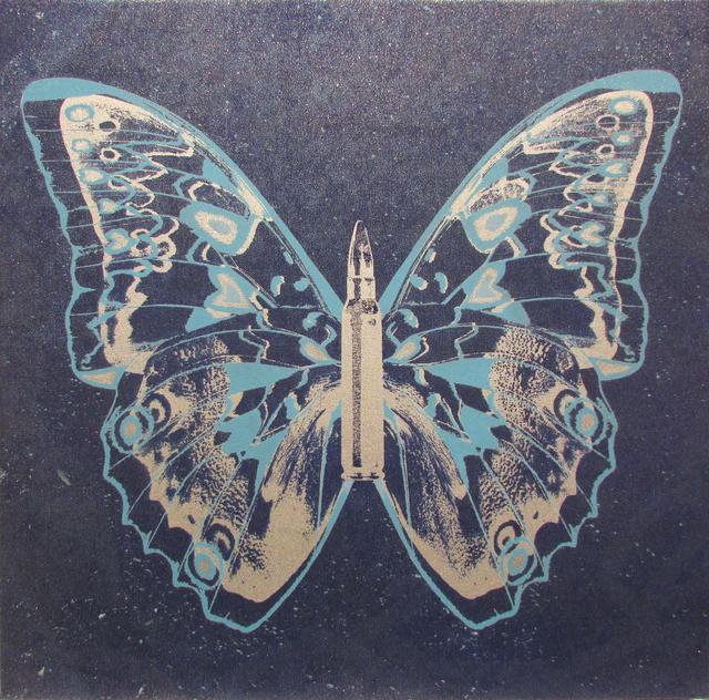 Rubem Robierb, 'Silver - Light Blue Butterfly II on Denim Blue', 2017, Taglialatella Galleries