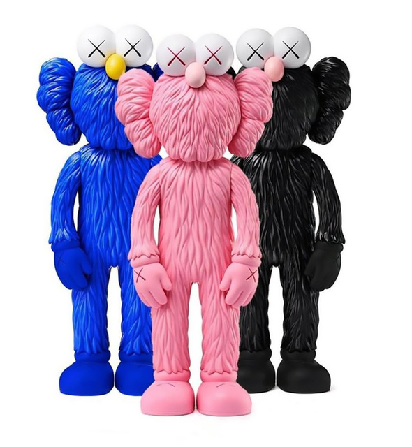 KAWS, 'KAWS BFF complete Set of 3 (KAWS Pink, Black, Blue BFF vinyl)', 2018, Sculpture, Painted cast vinyl resin, Lot 180