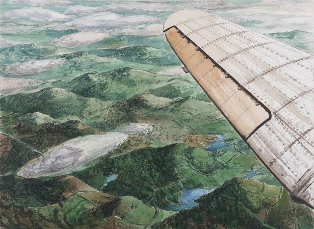 Rudolph Sauter, 'Birds eye view over the wing of an aeroplane (recto and verso)', ca. 1945, Liss Llewellyn
