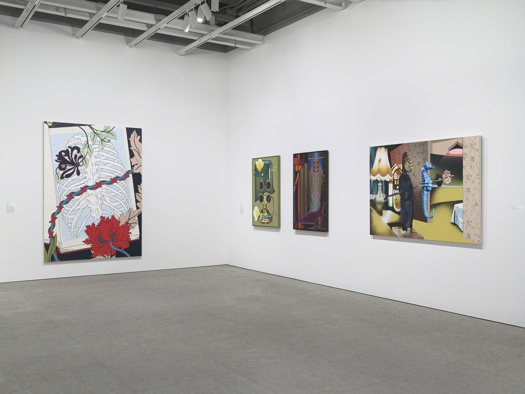 Installation view of Flatlands (Whitney Museum of American Art, NY, January 14 – April 18, 2016). From left to right: Caitlin Keogh, Vines, 2015 (E.2015.0911); Orion Martin, Bakers Steak, 2015 (E.2015.0900); 