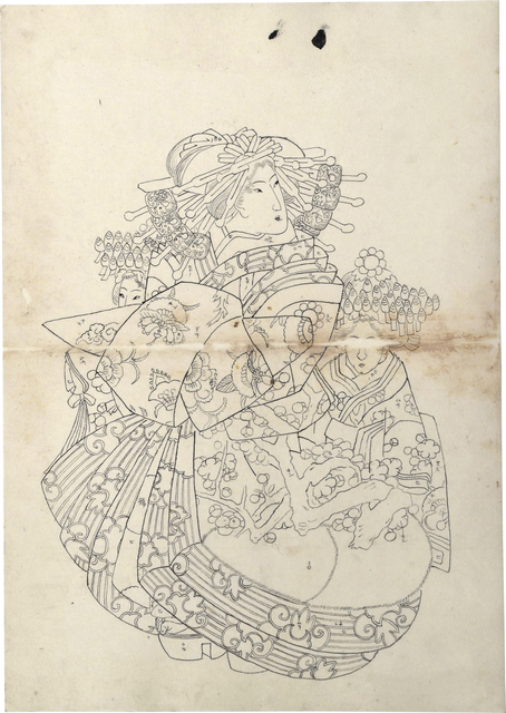Teisai Sencho, 'Preparatory Drawing of an Oiran Wearing an Uchikage Decorated with Blossoming Plum, with Two Kamuro', ca. 1830, Drawing, Collage or other Work on Paper, Sumi ink on paper, Scholten Japanese Art