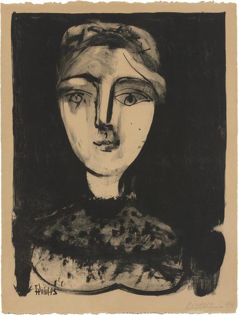 Pablo Picasso, 'TÊTE DE JEUNE FEMME (B. 458; MOURLOT 106)', 1947, Doyle