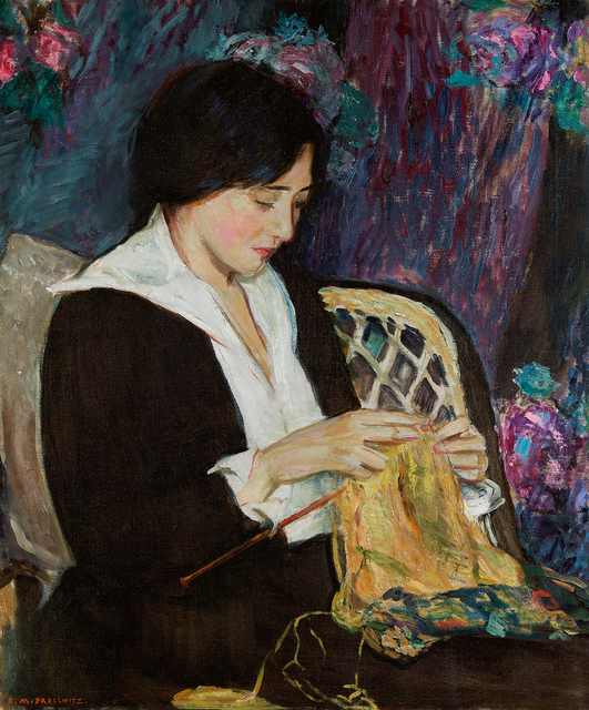 , 'Young Woman Knitting,' , Questroyal Fine Art