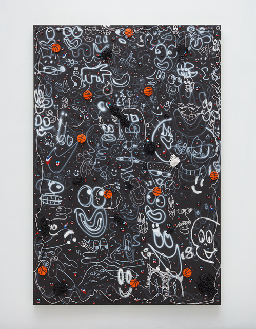 Devin Troy Strother, 'Black ghosts & basketballs', 2019, Painting, Acrylic, caulking, oil pastel, cut water color paper, oil paint, and pencil on panel, Over the Influence