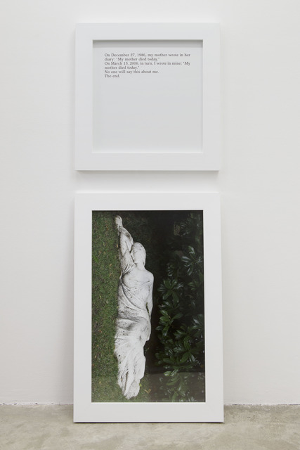 , 'Aujourd'hui ma mère est morte / Today my mother died,' 2013, Galerie Perrotin