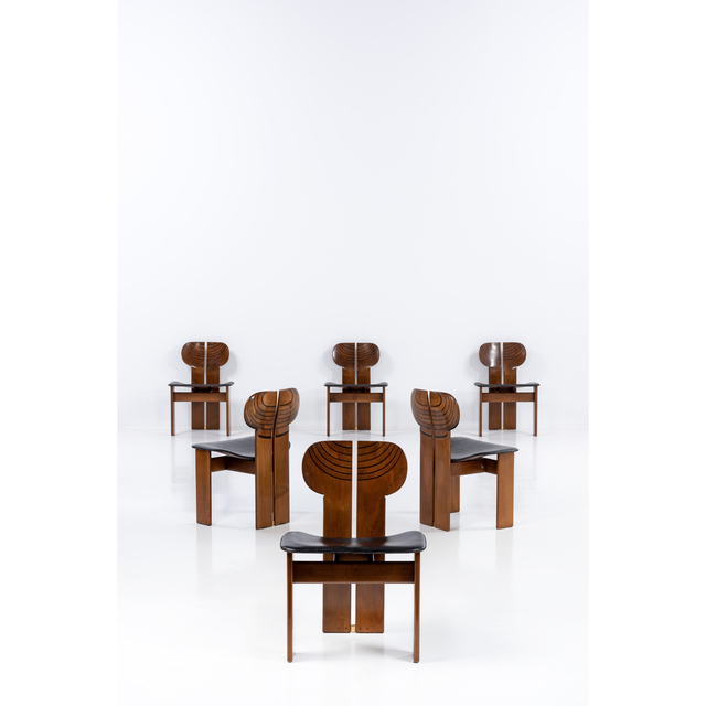 Afra & Tobia Scarpa, 'Artona; Set Of Six Chairs', Around 1975, Design/Decorative Art, Bois, laiton et cuir, PIASA