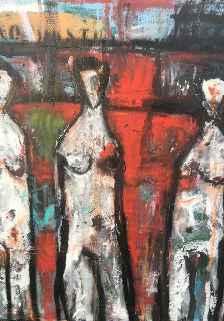 Ronald WICK Wickersham, 'Adam. Lillith. Eve. (Three Figures in Red)', 2018, JCO's Art Haus