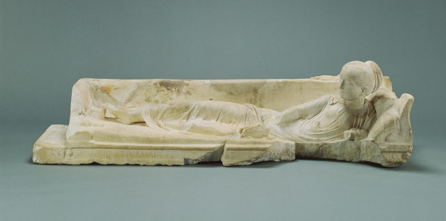 'Kline Monument with a Reclining Girl', 120 -140, J. Paul Getty Museum